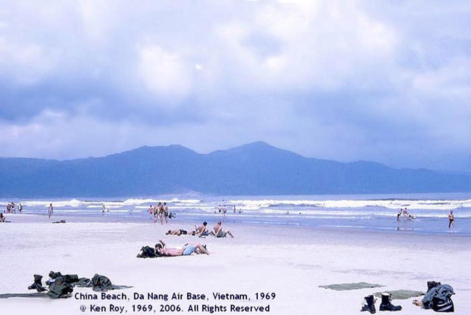 3. Da Nang AB, China Beach, Lifeguard Tower panorama view of China Beach.Monkey Mountain in the background. Photo by: Ken Roy. 1969.