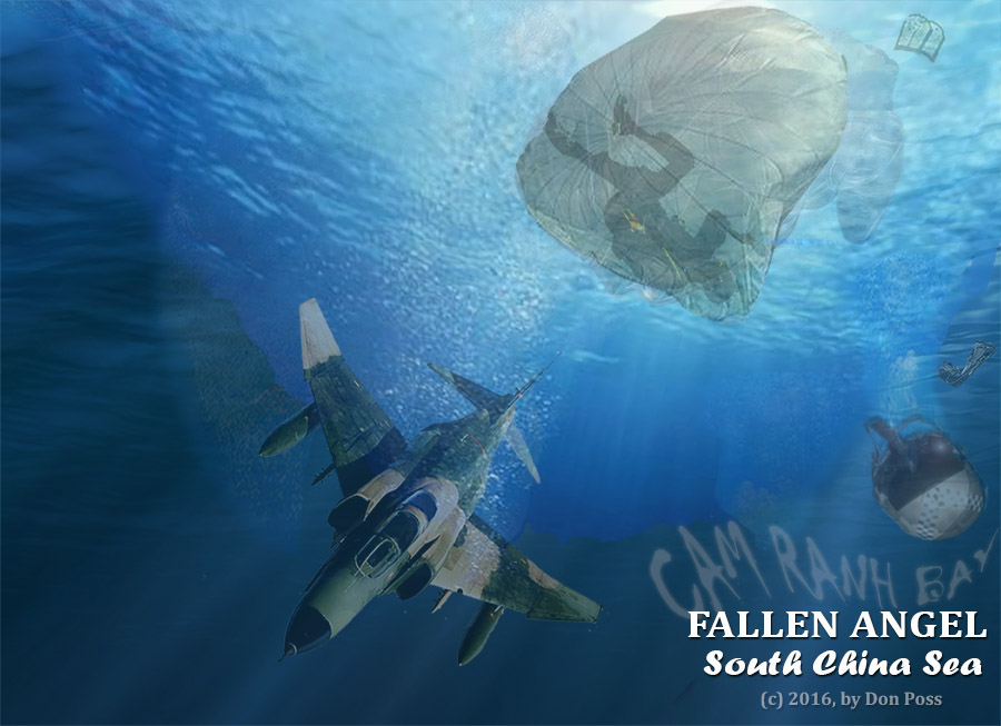 South Vietnam: Fallen Angel, F-4 Phantom crashes into the South China Sea. (c) 2016 by Don Poss