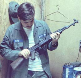 7. Bien Hoa AB: Checking out weapon. Photo by: Ernest (Coco) Govea.