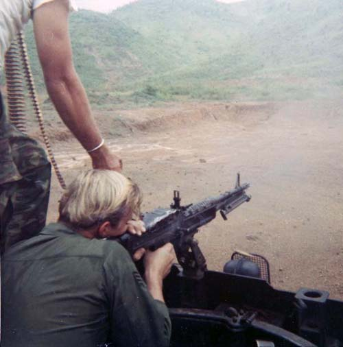 2. Da Nang AB, V100 M60. Glen Myers firing on the Range. 1971. Photo by: Glen H. Myers, NT, 6253 APS 14th SPS; PR 35th SPS; DN, 366th SPS. 1965-1966; 1971.