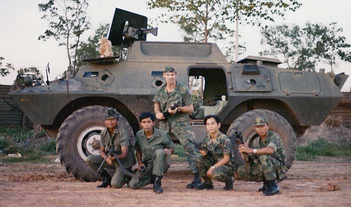 1. NKP RTAFB, V100: Curtis Hammond (standing) and four Thai Guards. 1973. Photo by: Curtis Hammond, NKP, 56th SPS, QRT Heavy weapons, 1973-1974.