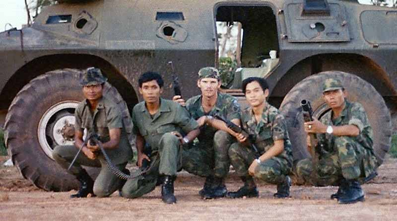 2. NKP RTAFB, V100: Curtis Hammond (center) and four Thai Guards. 1973. Photo by: Curtis Hammond, NKP, 56th SPS, QRT Heavy weapons, 1973-1974.