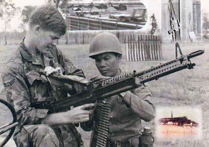 4. NKP RTAFB, M60: A2C Tom R. Johnson and Thai Guard. 1971. Photo by: Tom R. Johnson, LM 489, NKP, 56th SPS Armory; UT, 635th SPS, 1970-1971.