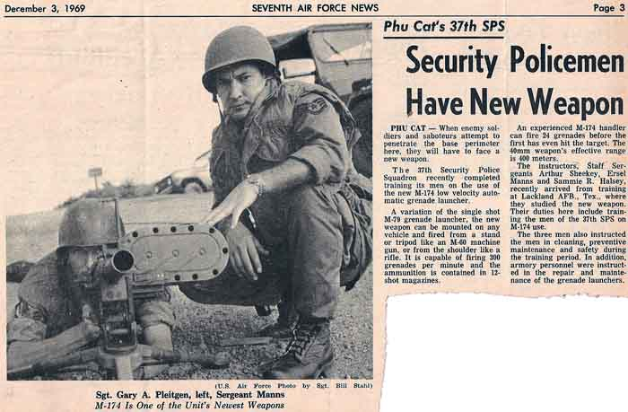 10. Sergeant Gary Pleitgen demonstrate ... Thanks to Don Bishop 1969-1970 for the clipping.