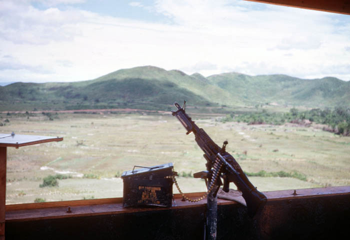 12. Phu Cat AB, Tower with M60 and ammo can ready to go. Photo by Don Bishop. 1969-1970.
