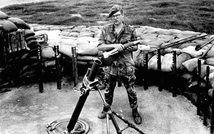 14. Phu Cat AB, 81mm mortars, Cobra Flight, Charlie 10, Phu Cat. 1968-1969. Photo by: Mike Sipes, PC, 37th SPS, 1968-1969.