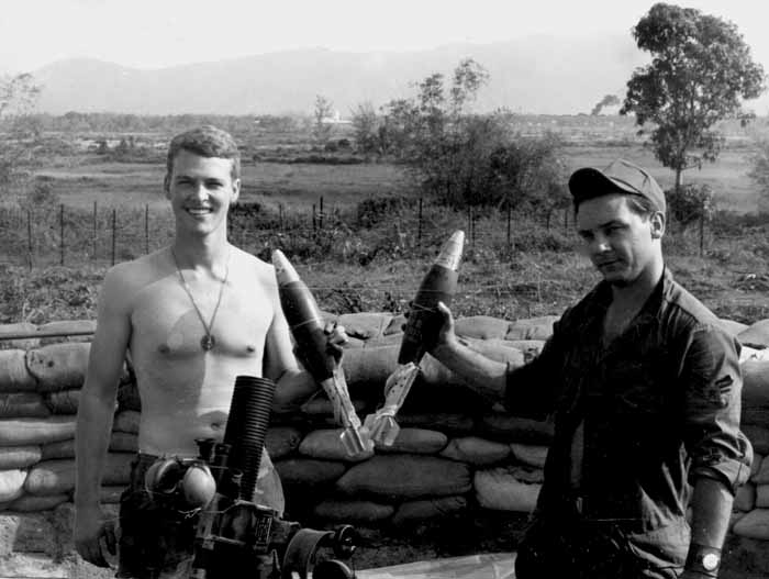 13. Phu Cat AB, L/R: Duran and McDonald, 81mm mortars, Cobra Flight, Charlie 10, Phu Cat. 1968-1969. Photo by: Mike Sipes, PC, 37th SPS, 1968-1969.
