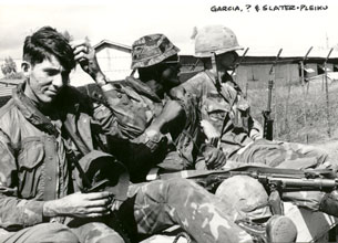 12. Pleiku AB, QRT Jeep. 1968-1969. L/R: Garcia, Unknown, Slater. Photo by: Clifton Larry Sutherland (RIP), PR, 822nd CSPS, 1968-1969.