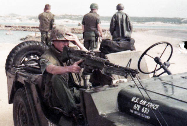 8. Phan Rang AB: Security Police QRT Jeep, M60. 1966. Photo by: Newell Swartz, LM 262, PR, 35th SPS; PC, 37th SPS, 1966-1967.