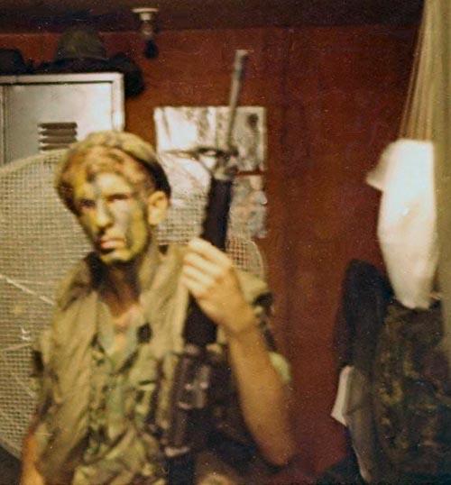 18. Phan Rang AB: We were going on a night ambush patrol, and I was ready. 1969. Photo by: Randy Vuletich, PR, 823rd CSPS; TMY; PC , 327th CSS SP, NT. 1969; 1970.