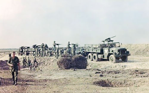 16. Tan Son Nhut AB, 377th SPS Special Weapoons Unit Convoy out for weapons testing. .50-cal., 60-mm Mortars, Quad-50's, LAAW (Light Anti-Tank Weapons), and other toys. 1968. Photo by: Larry Blades, TSN, 377th SPS, 1967-1968.