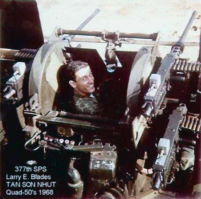 3. Tan Son Nhut AB, Security Police SAT Heavy Weapons, Quad-50s. 1967-1968. Photo by: Larry Blades, TSN, 377th SPS, 1968.