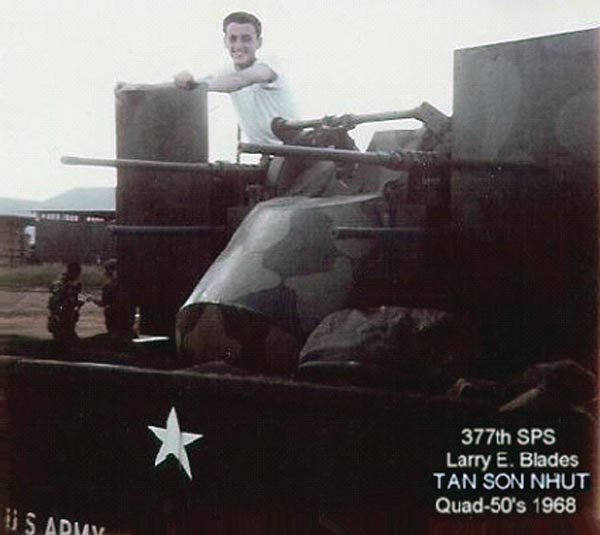 4. Tan Son Nhut AB, Security Police SAT Heavy Weapons, Quad-50s. 1968. Photo by: Larry Blades, TSN, 377th SPS, 1967-1968.