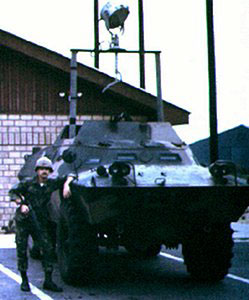5. Tuy Hoa AB, M113, with .50cal machinegun and Searchlight. 1969-1970. Photo by: Domenic Sebben, NT, 14th SPS; TUY, 31st SPS, 1969-1970.