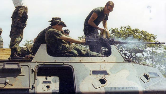 2. Ubon RTAFB. V100 .50cal. machinegun. Putting out rounds! 1971-1972. Photo by: Everett (Willie) Squires,UB, 8th SPS, HW, 1971-1972.
