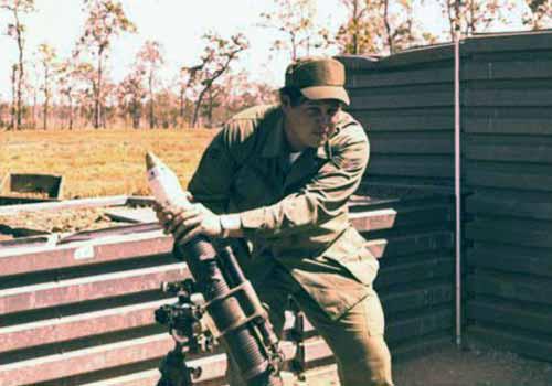 6. Korat RTAFB: Sgt David Worthen, fires another mortar. 1972-1973. Photo by: David Worthen, BH, 3rd SPS; KRT, 388th SPS. 1969-70; 1972-73.