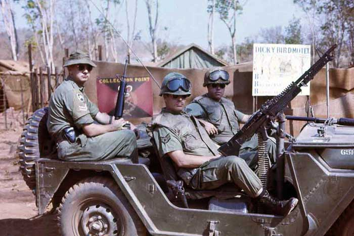 Nui Dat, Australian Viet Cong Prisoner holding area. Dicky Bird Motel. QRT jeep with Aussie and USAF SPS. MSgt Summerfield: 11