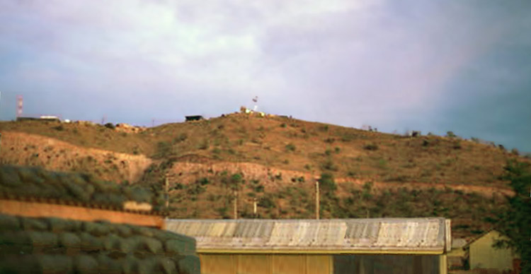 5. Nui Dat hill, as viewed from base area below. Photo by Stan Reeves, ND 1967.