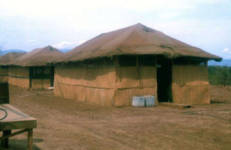 8. Nui Dat: 35th SPS tent-huts 1967, and prior to the barracks construction. Photo by Stan Reeves, ND 1967.