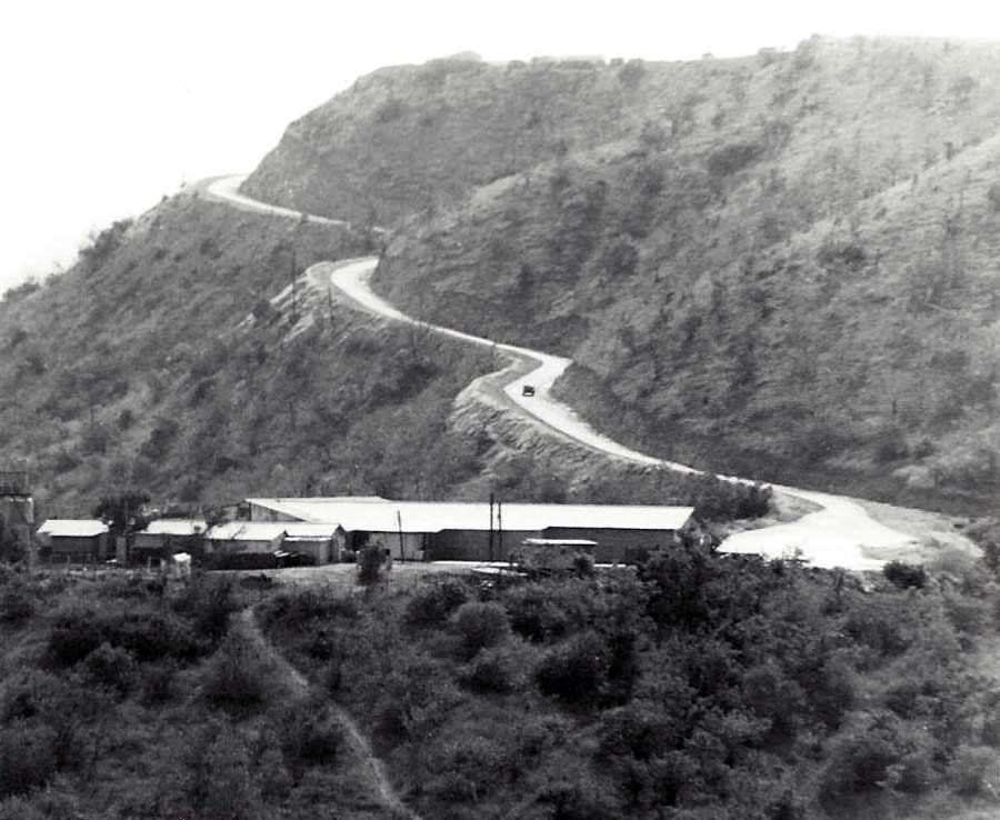 14. Nui Dat hill: Initial dirt road paved and handled large trucks passing without a problem. Photo by Dana Anthony, ND 1969.