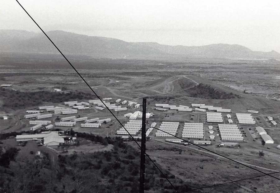 15. Nui Dat hill: View from hill of barracks below. Photo by Dana Anthony, ND 1969.