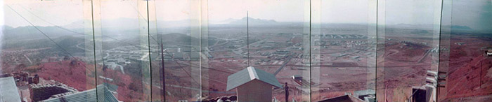 16. Nui Dat hill: Composite photo from Nui Dat hilltop. Photo by Dana Anthony, ND 1969.