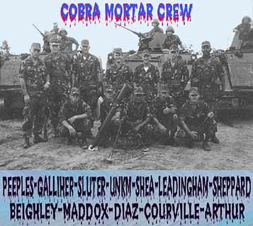 2. Phu Cat AB, Cobra Mortar Crew: L/R: Peeples, Galliker, Sluter, Unknown, Shea, Leadingham, Sheppard, Beighley, Maddox, Diaz, Courville, and Arthur. Photo by: Arthur.