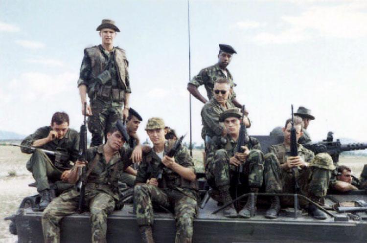 6. Phang Rang AB: Cobra Flight ride atop M113. Photo by Brian Williams, 1967-1968.