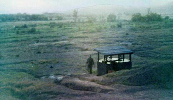 8. Phu Cat AB, Perimeter Bunker and M-60. A last look at the twilight. 1969. Photo by: David Hayes, LM 462, CRB, 12th SPS; PC, 37th APS, 1967-1968.