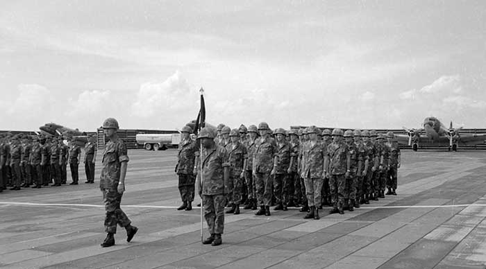 16. The 37th SPS at the wing change of command parade. Major John Ross led the marching detachment. Photo by Don Bishop. 1969-1970.