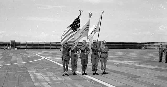 15. The color guard at the wing change of command parade. Photo by Don Bishop. 1969-1970.