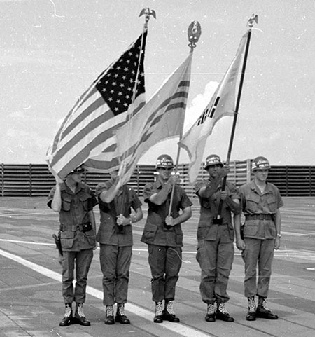 14. The color guard at the wing change of command parade. Photo by Don Bishop. 1969-1970.