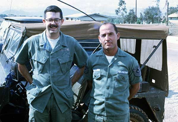 25. 1Lt Donald Bishop and 37th SPS First Sergeant Frank Hollenbach, March 19, 1970. I left the squadron area for the last time ten minutes later. Photo by Don Bishop. 1969-1970.