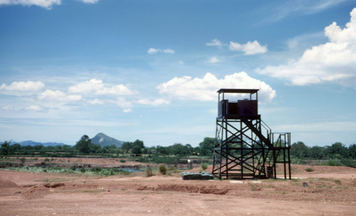 6a. Phu Cat AB, Perimeter Tower and Bunker. Floodlight (above bunker) illuminates river area. Photo by: David Hayes, LM 462, CRB, 12th SPS; PC, 37th APS, 1967-1968.