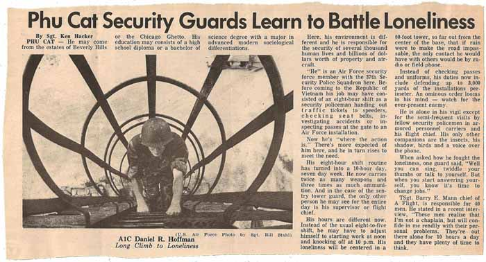 38. News Article: Phu Cat Guards Learn to Battle Loneliness. Clipping from Don Bishop 1969-1970.