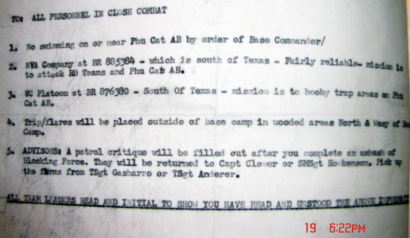 Intell Briefing Reports, Phu Cat AB, 1967.