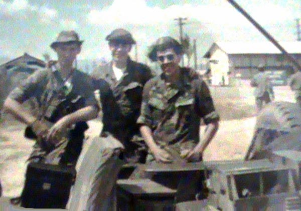 3. Phan Rang AB: 35th SPS: Convoy SAT from Phan Rang to Cam Ranh Bay AB. 1969 Photo by: Jim Sullivan.L/R: Vic Markle, Rick Hernandez, and Sgt Jim Sullivan.