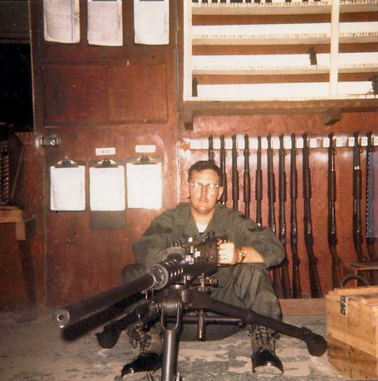 24. Phan Rang AB: Law and Security Weapons Room: .50 Cal. arrived at Phan Rang after Tet'68. Photo by: Van Digby, 1968.