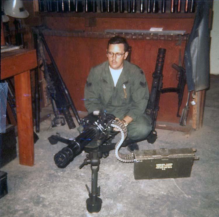 25. Phan Rang AB: Law and Security Weapons Room: Mini Gun arrived at Phan Rang after Tet'68. Photo by: Van Digby, 1968.
