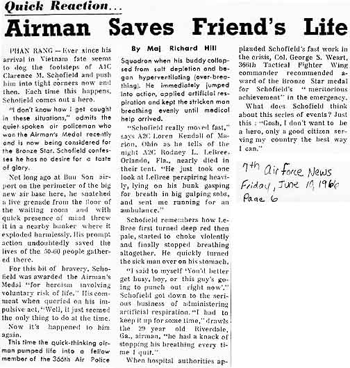 4. AF NEWS article, 17 June 1966: Airm Saves Friend's Life.