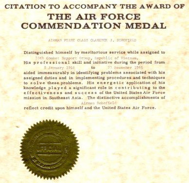 12. DOAF: Citation to Accompany the Award of The Air Force Commendation Medal to A1C Clarence J. Schofield.