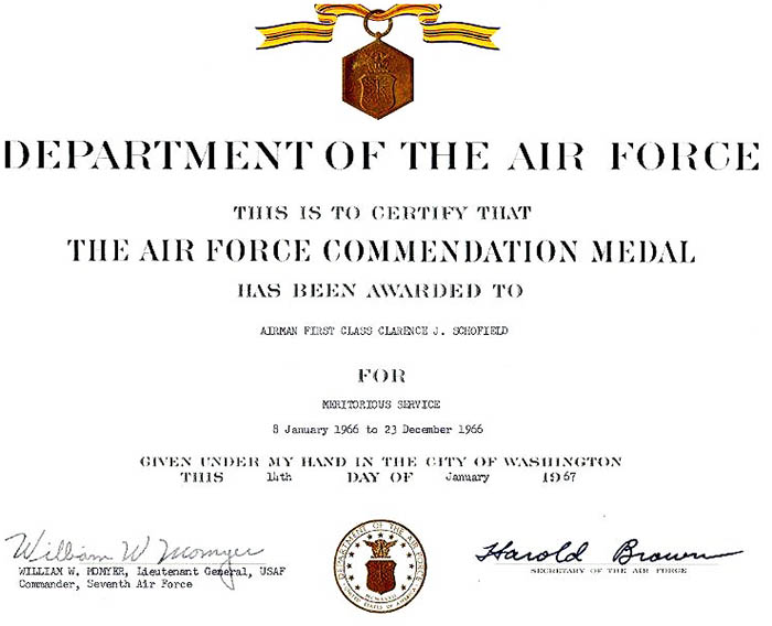 11. DOAF: Award of The Air Force Commendation Medal to A1C Clarence J. Schofield. 14 Jan 1967.