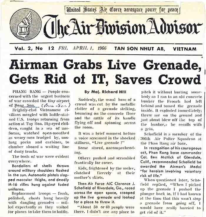 News Article: The Airman Advisor, 1 April 1966, TSN SVN, Airman Grabs Live Grenade... Saves Crowd.
