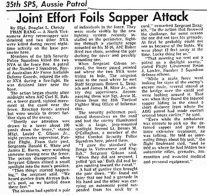 1. I was cleaning out the closet today and found this news article among some other papers I had. I believe the actual date of this was Feb. 11, 1970.Maybe one of the other members can verify the date.The articlewas published at the time in the base newspaper, which I don't recall the name, and now looking backI wish I kept the whole paper.