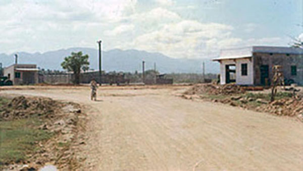 9. Phan Rang AB: Gate (center right) and road to town. Photo by Gary Phillips. c1966.