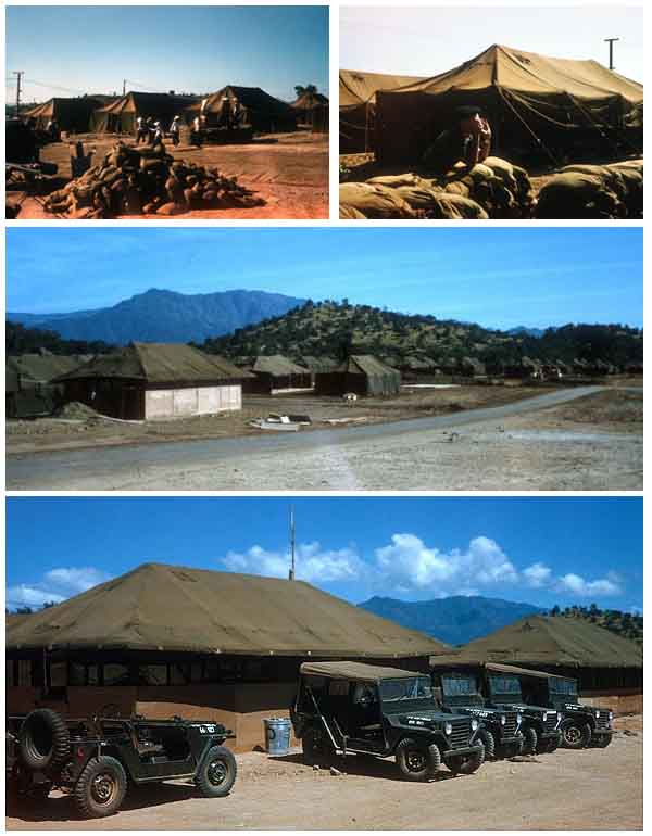 2. Top Right: Our 1966 luxury apartments. Top Left: Our Home. Middle: Tents, mid-1966. Bottom: USAF Air Police Jeeps.
