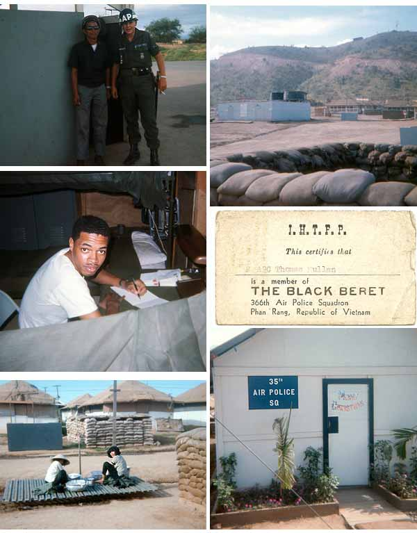 5. Top Left: Airman Kendall and Vietnamese Counterpart. Top Right: We got our shower! Center-Left: Writing Home (name?). Center-Right: ID Card - The Black Beret, 366th APS, Phan Rang AB. Bottom-Left: Mamasans doing cleaning. Bottom-Right: 35th Air Police Squadron Headquarters, with Merry Christmas decorations on door.
