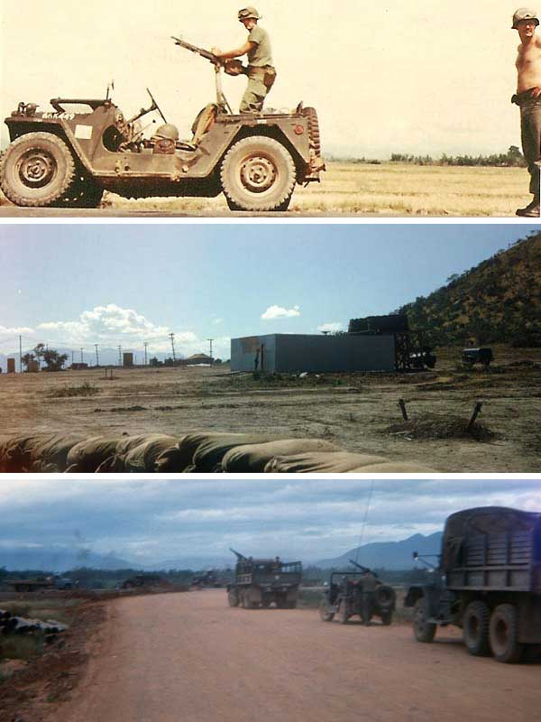 7. Top: Tom Mullen, getting ready for a Convoy escourt. Middle: Great view of Showers and P-tube urinals! Bottom: Convoy escourt to Cam Ranh Bay AB Air Base.