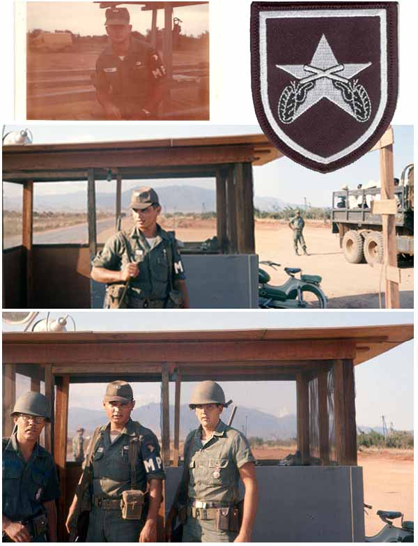 9. Top Left: MP 101st Burns, a good friend of mine. Top Right: Military Police, AP Crossed Pistols. Center: (Composite photos) MP 101st Martinez, and friend; Vietnamese civilian workers arriving for work. Bottom: Outer Perimeter Gate, mained jointly by 101st and 35th APS.