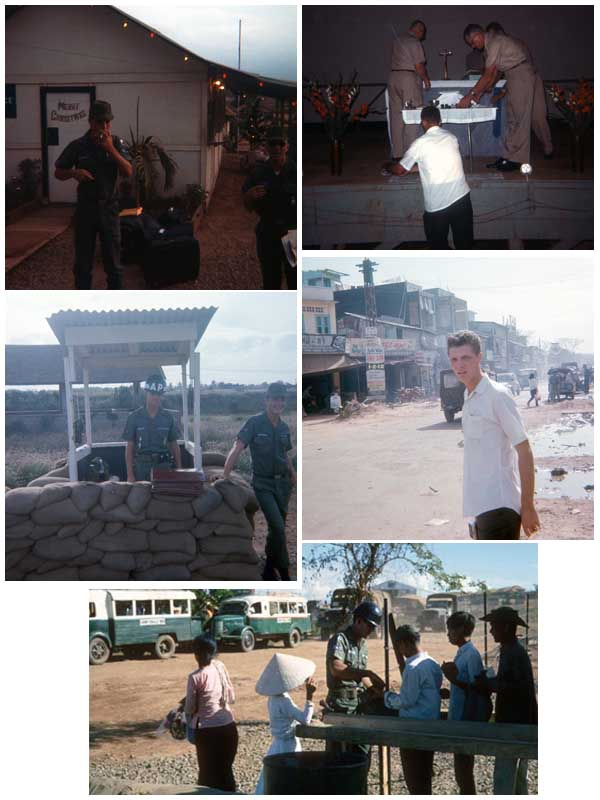 10. Top Left: Airman Gene Love, packed and Going Home! Top Right: Tom Mullen, Sunday Services. Center-Left: Main Entrance Gate. Center-Right: Airman Nichols, in lovely Thap Cham, SVN. Bottom: Tom Mullen, inspecting Me-No-VC Civilian Vietnamese workers.